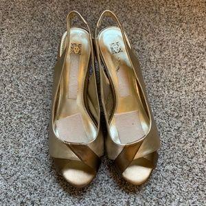 Gold Toned Peep Toe Kitten Heels